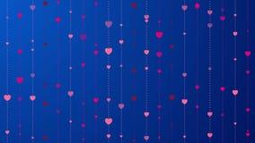 Różowi serca na zmroku - błękitna tła wideo animacja ilustracja wektor