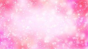Różowi serca pojawiać się na olśniewającym tle Walentynka dnia pętli wakacyjna abstrakcjonistyczna animacja ilustracji