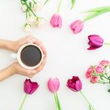 Różowi tulipany, róże i czarna kawa na białym tle, Mieszkanie nieatutowy Odgórny widok Walentynka dnia tło Zdjęcia Royalty Free
