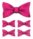 Różowy łęku krawat z bielem kropkuje realistycznego wektorowego ilustracja set royalty ilustracja
