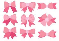Różowy łęku projekt na białym tle ilustracja wektor