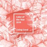 Różowy Żywy koral i Biała Modna kolor paleta 2019 rok z piórkami i kwadrat rama z Colour royalty ilustracja