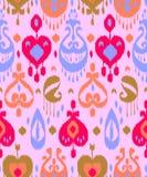 Różowy błękitnej i czerwonej kolorowej ikat azjatykciej tradycyjnej tkaniny bezszwowy wzór, wektor Obraz Royalty Free