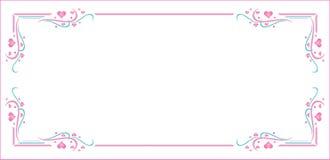 Różowy błękitny wzoru serca ramy valentines dzień zdjęcia royalty free