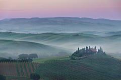 Różowy belwederu wschód słońca w Tuscany Fotografia Stock