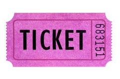 Różowy bilet odizolowywający biały tło jeden pojedynczy karcz zdjęcia royalty free