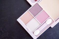 Różowy brzmienia oka cień uzupełniał paleta set Fotografia Stock