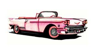 Różowy Cadillac, ręka rysunek Zdjęcia Stock