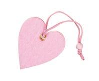 Różowy dekoracyjny tkaniny serce odizolowywający Obraz Stock