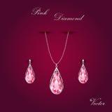 Różowy Diamentowy biżuteria set Ilustracji