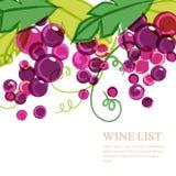 Różowy dojrzały gronowy winograd z zielonymi liśćmi Abstrakcjonistyczny wektorowy watercol ilustracji