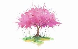 Różowy drzewny akwareli tło ilustracja wektor