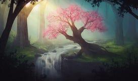 Różowy drzewo w lesie ilustracja wektor