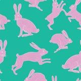 Różowy dziwaczny biały, menchie królika powtórki wzór na/równiny zielonym, błękitnym tle/ Zdjęcie Stock