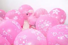 Różowy flaming, miękkiej części zabawka i balony, Pojęcie wakacyjni prezenty i dekoracje obrazy stock