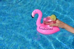 Różowy flaming unosi się napoju właściciela w basenie zdjęcia stock