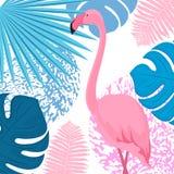 Różowy flamingo4 Modny tropikalny projekt Li?cie palma, monstera, papro? royalty ilustracja