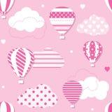 Różowy gorące powietrze balonów wzór Zdjęcia Royalty Free