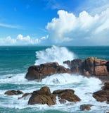 Różowy granitu wybrzeże Brittany, Francja Zdjęcia Stock