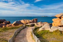 Różowy granitu wybrzeże w Brittany, Francja Zdjęcia Stock