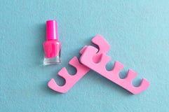Różowy gwoździa połysk z menchii palec u nogi dividers Obrazy Royalty Free