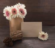 Różowy i biały gerbera kwitnie i sosnowi rożki są w torbie na drewnianym tle z kartą, Obraz Stock