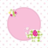 Różowy i zielony dziecko słonia kartka z pozdrowieniami Obraz Royalty Free