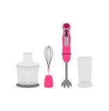Różowy immersyjny blender, bat, szklany ostrzarz ilustracji