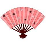 Różowy japoński ręki fan z kwiatami Zdjęcia Royalty Free
