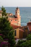 Różowy kościół Tellaro obraz royalty free