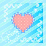 Różowy koronkowy serce na błękitnym tle Obraz Royalty Free