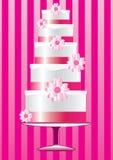 Różowy kwiecisty ślubny tort Zdjęcia Stock