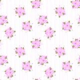 Różowy kwiecisty i zielony liść na pasek linii bezszwowym wzorze ilustracja wektor
