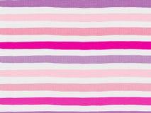 Różowy lampasa wzór na bieliźnianej tkaninie Obrazy Royalty Free