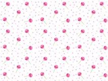 Różowy lizaka wzoru wektor dla tła Round cukierki na kiju ilustracji