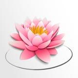 Różowy lotosowy kwiat. Papierowa wycinanka royalty ilustracja