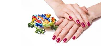 Różowy manicure i żaba Zdjęcie Royalty Free
