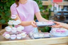 Różowy marshmallow w rękach dziewczyna Naturalna słodkość ho Zdjęcie Royalty Free