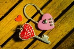 Różowy mistrz w kierowym kształta kluczowym i czerwonym serce kluczu Obrazy Stock