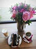 Różowy nastrój dla kawowej przerwy obraz stock