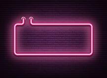Różowy neonowy świecący signboard na realistycznej murarstwo ścianie ilustracja wektor