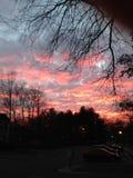 Różowy niebo przy półmrokiem z iluminować chmurami Zdjęcia Royalty Free