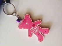 Różowy niedźwiadkowy kluczowy pierścionek Obraz Stock