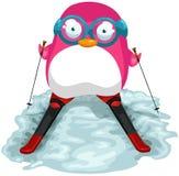 różowy pingwinu narciarstwo royalty ilustracja