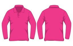 Różowy polo koszula Długi rękaw Vecor dla szablonu ilustracji