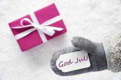 Różowy prezent, rękawiczka, bóg Jul Znaczy Wesoło boże narodzenia fotografia stock