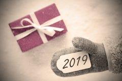 Różowy prezent, Szara rękawiczka, tekst 2019, Śnieżny tło fotografia royalty free