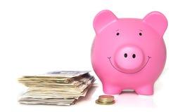 Różowy prosiątko bank z stosem banknoty zdjęcie stock
