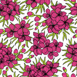 Różowy Sakura i zieleń liści bezszwowy wzór Obraz Stock