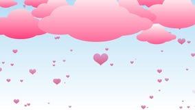 Różowy serce deszcz royalty ilustracja